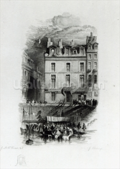 Napoleons Lodgings on the Quai Conti, 1834-36 (engraving) wall mural