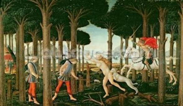 Nastagios Vision of the Ghostly Pursuit in the Forest: Scene I of The Story of Nastagio degli Onesti, c.1483 (tempera on panel) wall mural