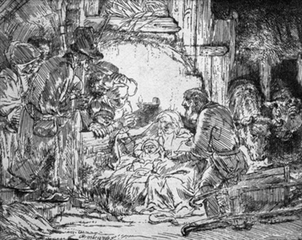 Nativity, 1654 (etching) (b/w photo) mural wallpaper