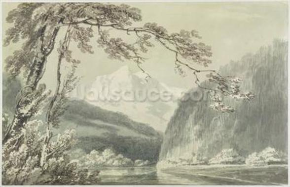 Near Grindelwald, c.1796 (blue & grey wash over graphite on paper) mural wallpaper