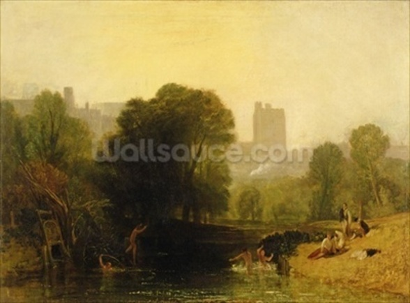 Near the Thames Lock, Windsor, c.1809 mural wallpaper