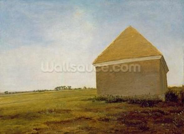 Newmarket Heath, with a Rubbing-Down House, c.1765 (oil on canvas) (post-restoration) (see 111978) wall mural