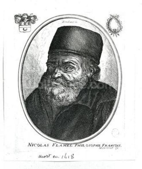 Nicolas Flamel (c.1330-1418) engraved by Balthazar Moncornet (c.1600-68) (engraving) (b/w photo) mural wallpaper