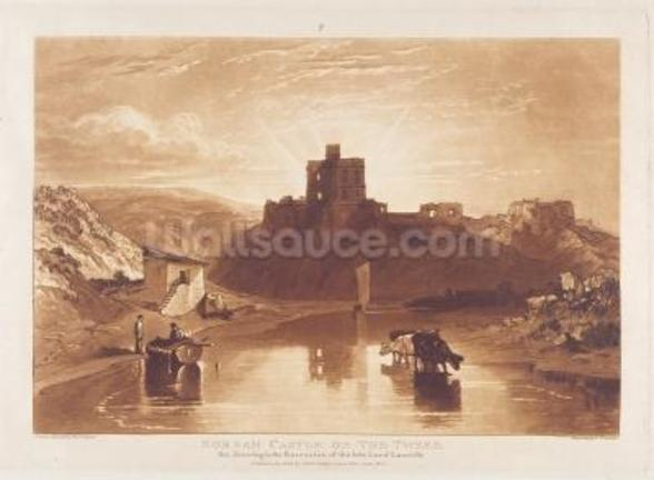 Norham Castle, engraved by Charles Turner (1773-1857) 1859-61 (engraving) wall mural