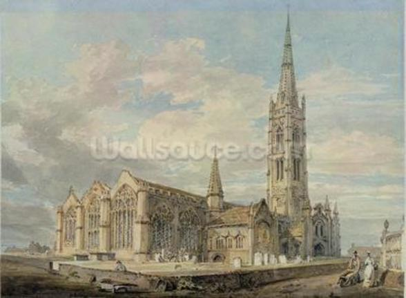 North-east View of Grantham Church, Lincolnshire, c.1797 (w/c over graphite on paper) mural wallpaper
