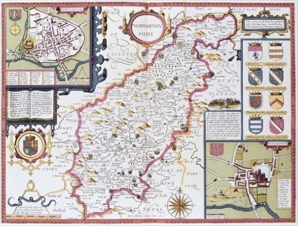 Northamtonshire, engraved by Jodocus Hondius (1563-1612) from John Speeds Theatre of the Empire of Great Britain, pub. by John Sudbury and George Humble, 1611-12 (hand coloured copper engraving) wall mural