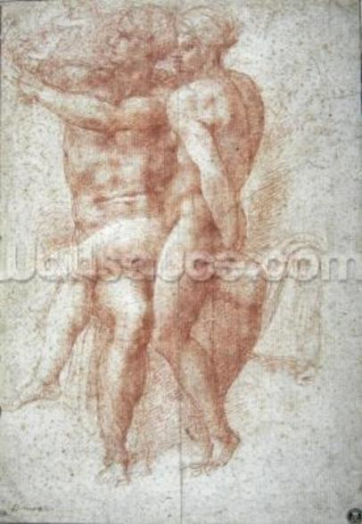 Nude female seated on the knees of a seated male nude: Adam and Eve (sanguine on paper) wall mural