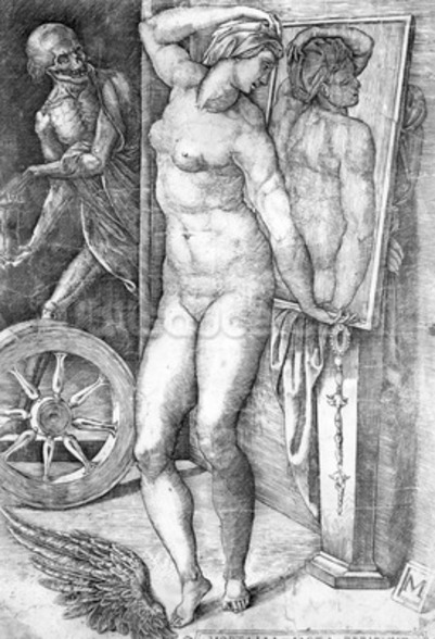 Nude looking at Herself in a Mirror, print made by Monogrammist M, c.1530-80 (engraving) wallpaper mural