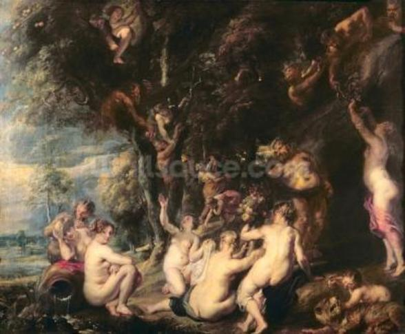 Nymphs and Satyrs, c.1635 (oil on canvas) wallpaper mural