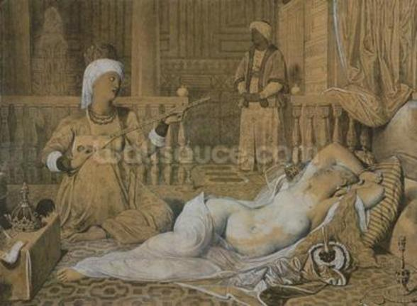Odalisque with a Slave, 1858 (graphite & wash on paper heightened with white) wallpaper mural