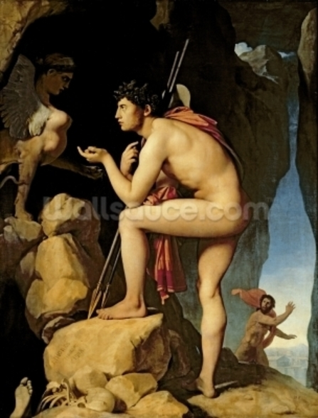 Oedipus and the Sphinx, 1808 (oil on canvas) wall mural