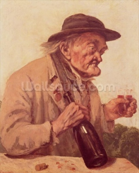 Old Man with a glass of wine wall mural