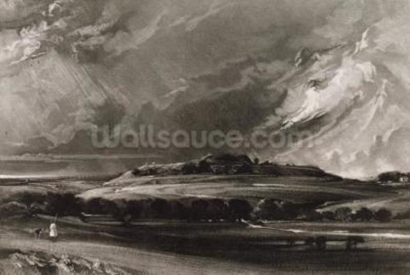 Old Sarum, engraved by David Lucas (1802-81) c.1829 (mezzotint) mural wallpaper