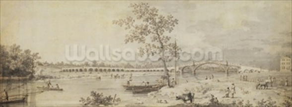 Old Walton Bridge seen from the Middlesex Shore, 1755 (pen & ink with wash on paper) wall mural
