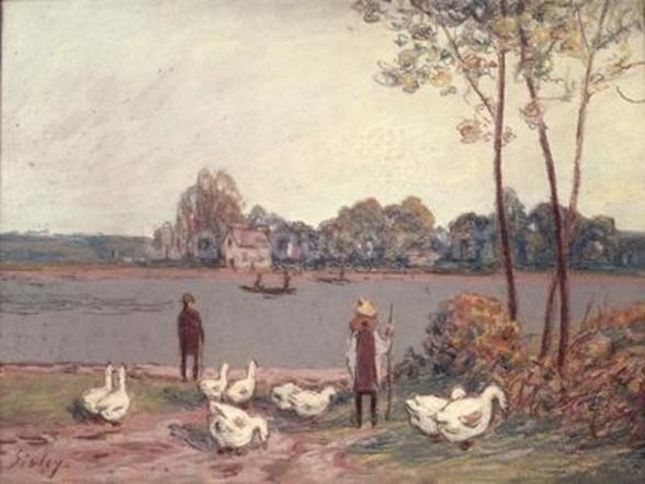 On the Banks of the Loing (pastel on paper) wall mural