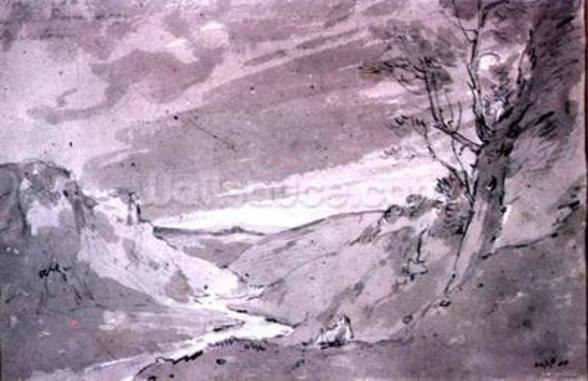 On the Dove near Buxton, 1801 (pencil and sepia wash) wallpaper mural