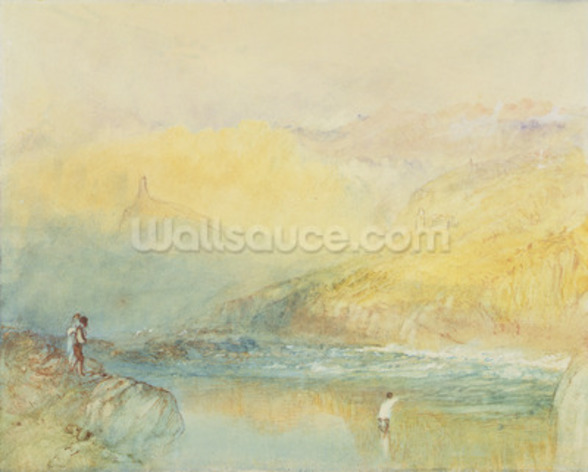 On the Mosell, near Traben Trarabach, c.1841 (w/c & graphite on paper) wallpaper mural