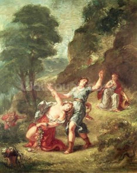 Orpheus and Eurydice, Spring from a series of the Four Seasons, 1862 (oil on canvas) wall mural