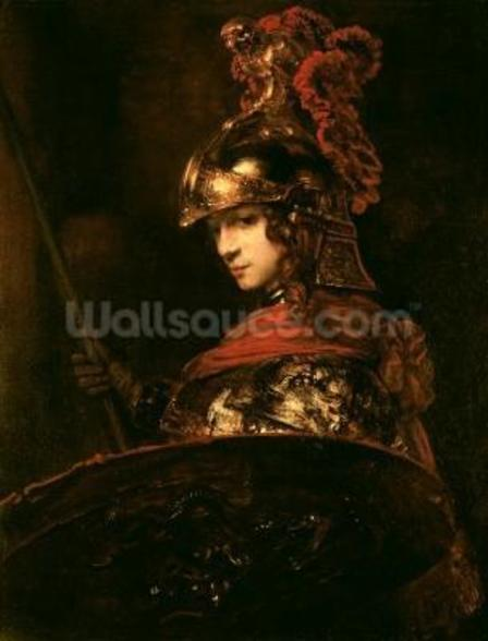 Pallas Athena or, Armoured Figure, 1664-65 (oil on canvas) wall mural