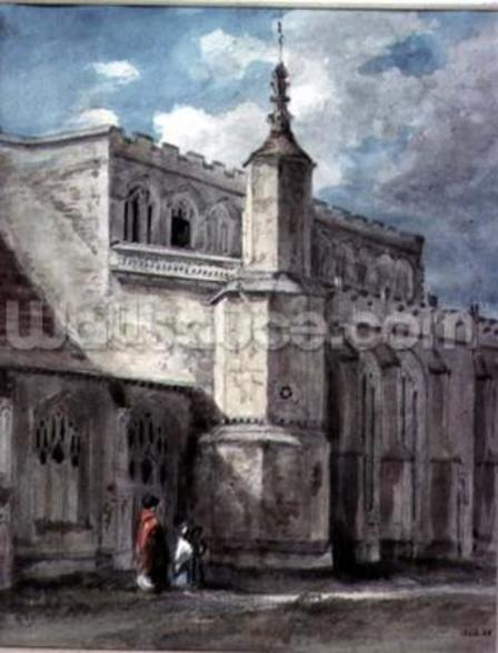 Part of the Exterior of East Bergholt Church: The North Side, c. 1801-05 (pencil and watercolour) mural wallpaper