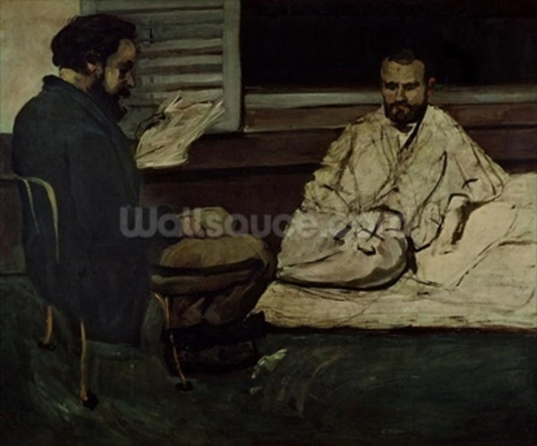 Paul Alexis (1847-1901) Reading a Manuscript to Emile Zola (1840-1902) 1869-70 (oil on canvas) wallpaper mural