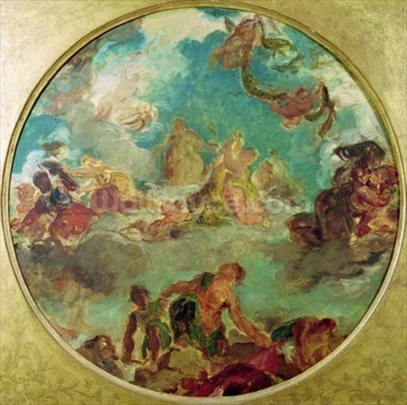 Peace Descending to Earth, study for the central ceiling of the Salon de la Paix in the Hotel de Ville destroyed in 1871 during the Commune (oil on canvas) wall mural