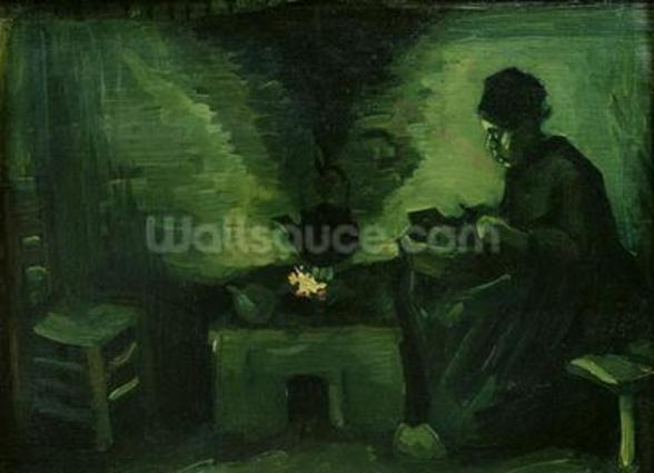 Peasant Woman by the Hearth, c.1885 (oil on canvas laid on board) wallpaper mural