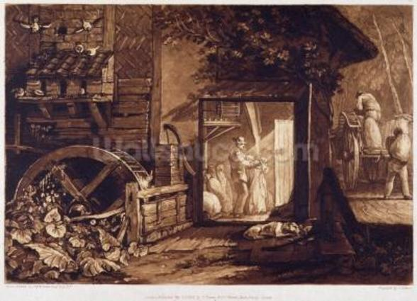 Pembury Mill, Kent, engraved by Charles Turner (1773-1857) 1853-74 (engraving) mural wallpaper