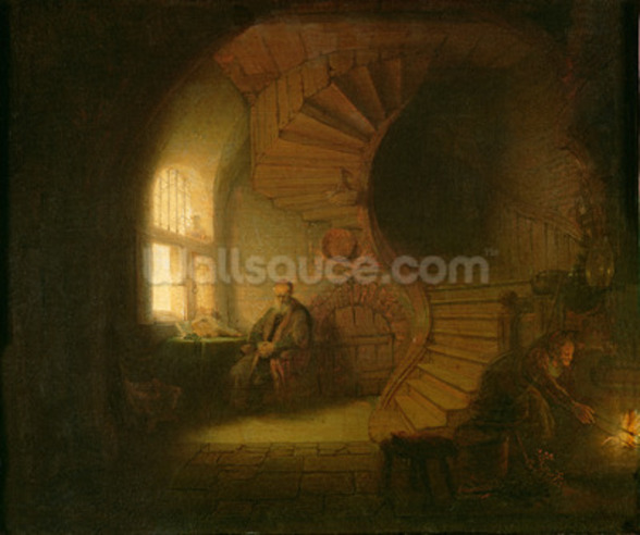 Philosopher in Meditation, 1632 (oil on panel) wall mural