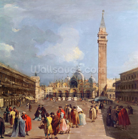 Piazza San Marco, Venice, c.1760 (oil on canvas) (detail) mural wallpaper