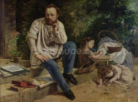 Pierre Joseph Proudhon (1809-65) and his children in 1853, 1865 (oil on canvas) (see 99577 for detail) wallpaper mural