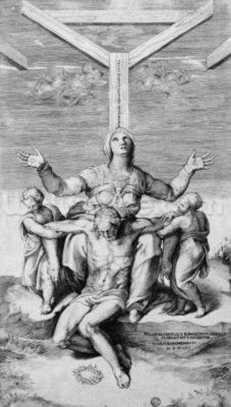 Pieta, engraved by Giulio Bonasone, 1556 (engraving) mural wallpaper