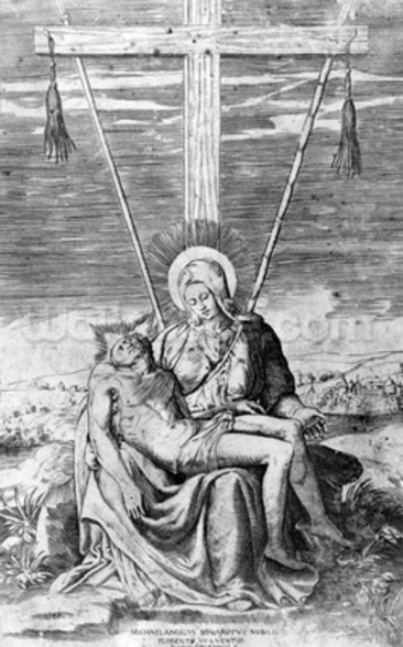 Pieta, engraved by Giulio Bonasone (engraving) mural wallpaper