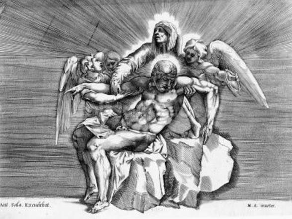 Pieta, engraved by Giulio Sanuto (engraving) wall mural
