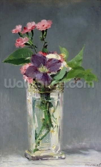 Pinks and Clematis in a Crystal Vase, c.1882 (oil on canvas) mural wallpaper