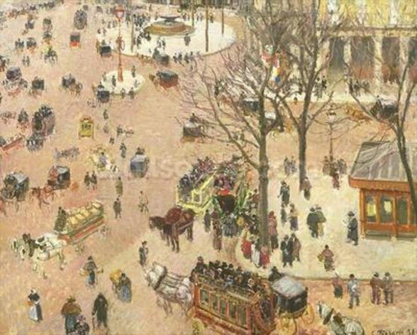 Place du Theatre Francais, 1898 (oil on canvas) wall mural