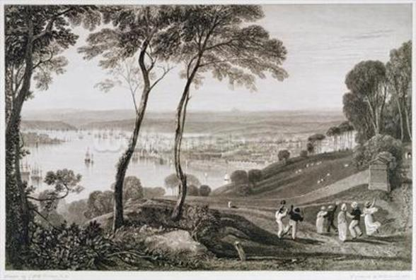 Plymouth Dock from Mount Edgecombe, from Cookes Picturesque Views of the Southern Coast of England engraved by William Bernard Cooke (1778-1855) 1814-26 (etching) wall mural
