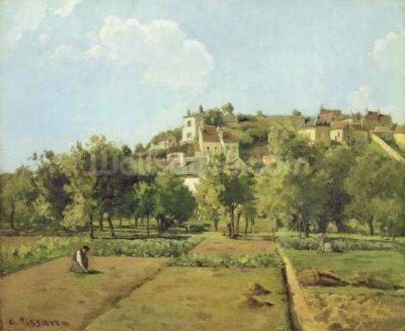Pontoise, or The Gardens of the Hermitage, Pontoise, 1867 (oil on canvas) mural wallpaper