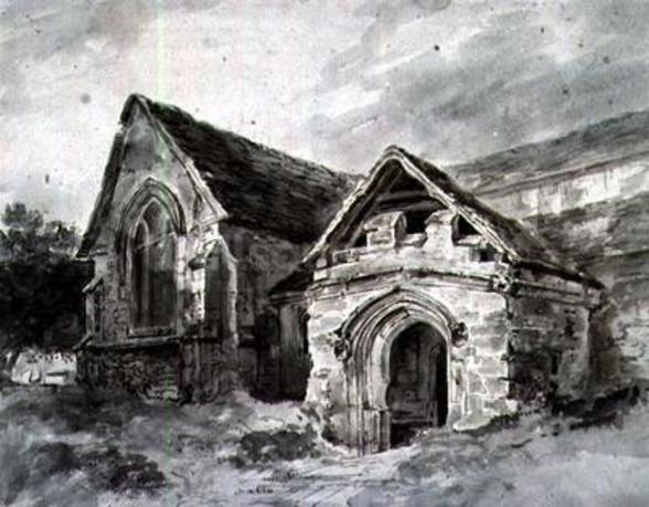 Porch and Transept of a Church, c.1850-11 (w/c on paper) wall mural
