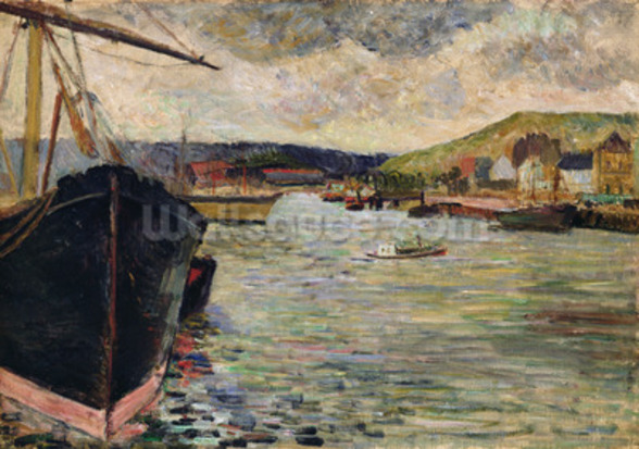 Port at Rouen (oil on canvas) wall mural