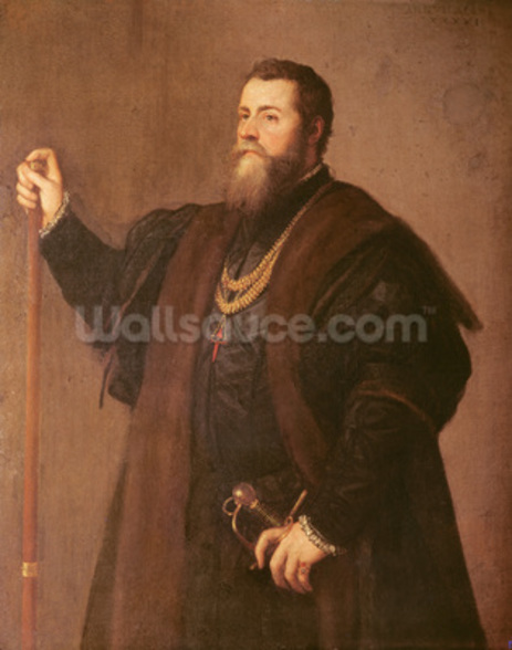 Portrait of a Knight of the Order of Santiago, 1542 (oil on canvas) mural wallpaper