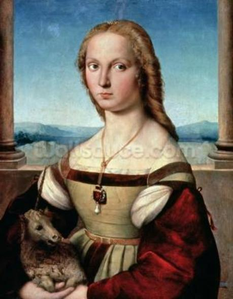 Portrait of a Lady with a Unicorn, c.1505-6 (oil on panel) wall mural