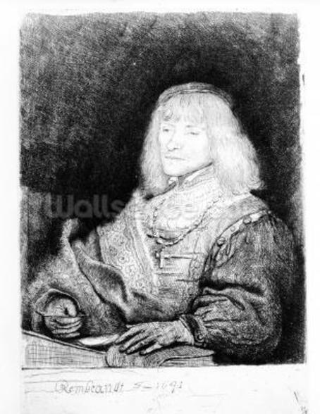 Portrait of a man at a desk, 1641 (etching) wall mural