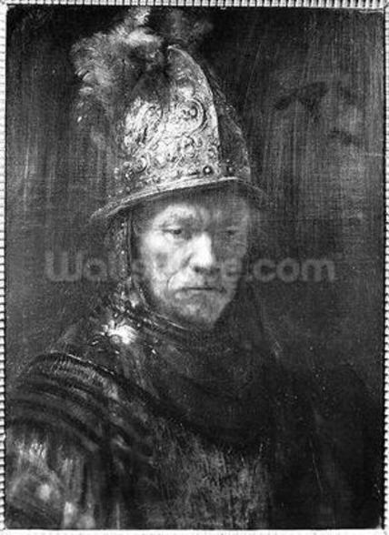 Portrait of a Man with a Golden Helmet, 1648 (oil on canvas) (b/w photo) wallpaper mural