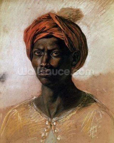 Portrait of a Turk in a Turban, c.1826 (pastel on paper) wall mural