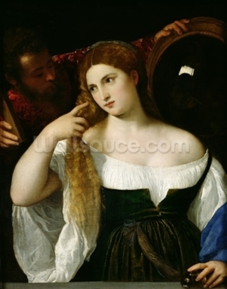 Portrait of a Woman at her Toilet, 1512-15 (oil on canvas) wallpaper mural