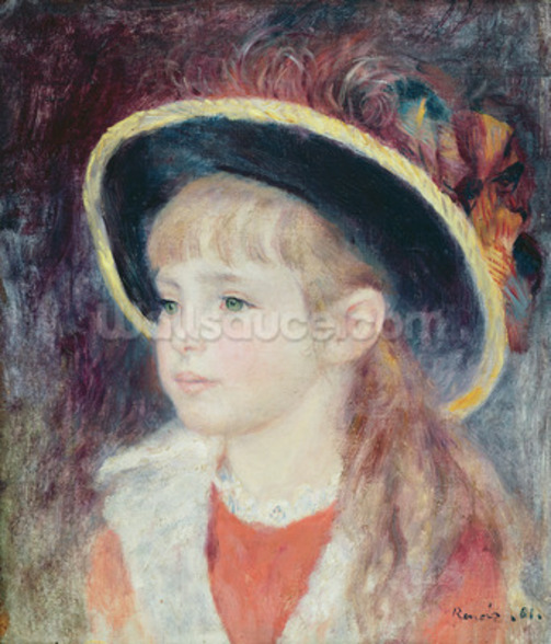 Portrait of a Young Girl in a Blue Hat, 1881 (oil on canvas) wall mural