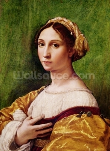 Portrait of a Young Girl (tempera on panel) mural wallpaper