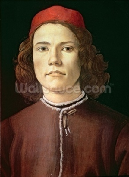 Portrait of a Young Man, c.1480-85 (tempera & oil on panel) mural wallpaper
