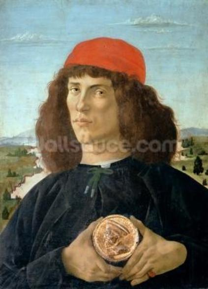 Portrait of a young man holding a medallion of Cosimo I de Medici (The Elder) (1389-1463) (tempera on panel) wall mural